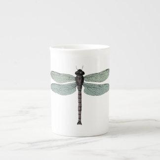 antique typographic vintage dragonfly tea cup