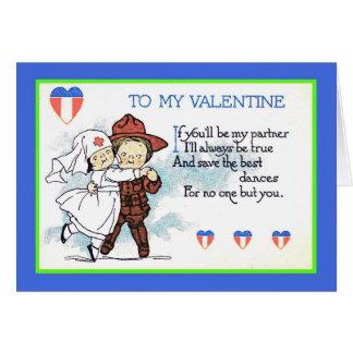 Antique Valentine, Soldier & Nurse 1919 - Copy Card