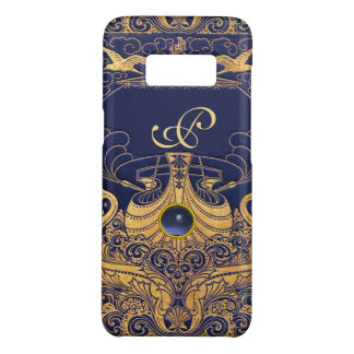 Antique Vessel,Dolphins,Gold,Navy Blue Monogram Case-Mate Samsung Galaxy S8 Case