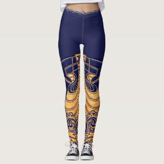 Antique Vessel,Dolphins,Gold,Navy Blue Nautical Leggings