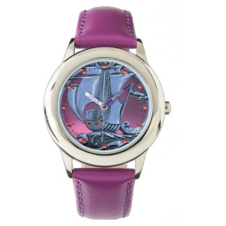ANTIQUE VESSEL ,SEA WAVES, NAUTICAL Navy Blue Pink Watch
