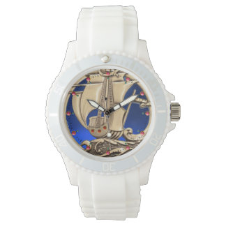 ANTIQUE VESSEL ,SEA WAVES, NAUTICAL Navy Blue Watch