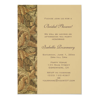 Antique Victorian Autumn Leaves Bridal Shower Card