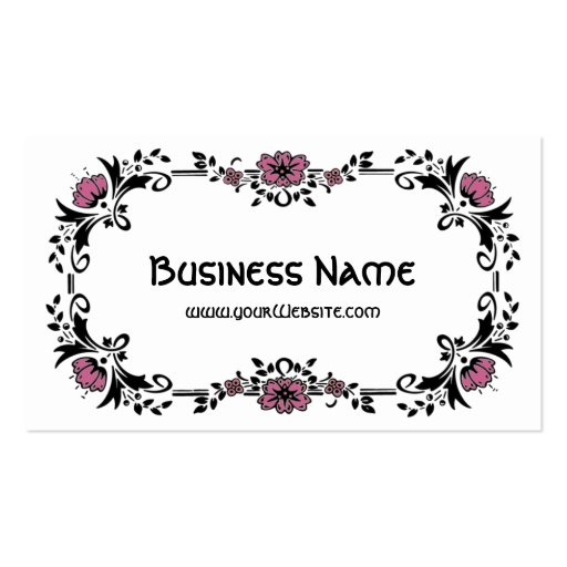 Antique Victorian Decorative Floral Pink Flowers Business Cards