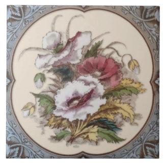 Antique Victorian Floral Transferware Tile Repro