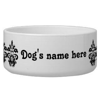 Antique victorian lolita damask motif dog bowls