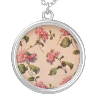 Antique Victorian Rose Wallpaper Necklace