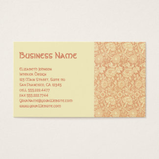 Antique Victorian William Morris Carnations Roses Business Card
