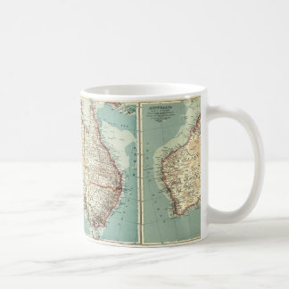 Antique Vintage Australian continent detailed map Coffee Mug