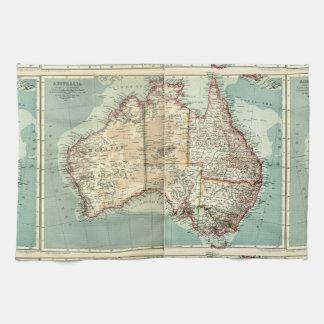 Antique Vintage Australian continent detailed map Kitchen Towel