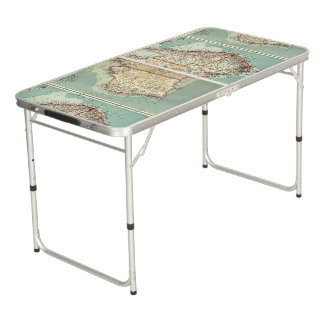 Antique Vintage Australian continent detailed map Pong Table
