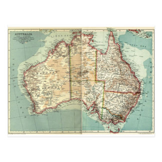 Antique Vintage Australian continent detailed map Postcard