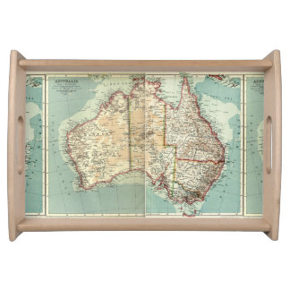Antique Vintage Australian continent detailed map Serving Tray