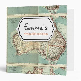 Antique Vintage Australian continent detailed map Vinyl Binder
