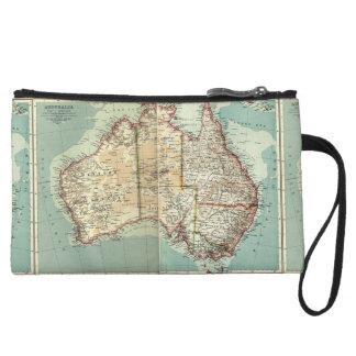 Antique Vintage Australian continent detailed map Wristlet