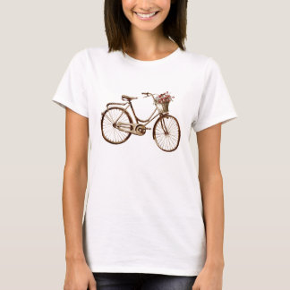 Antique Vintage Bicycle Basket Flowers Roses T-Shirt