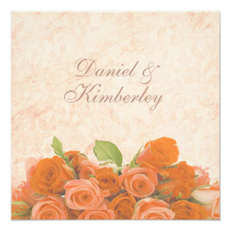 Antique Vintage Brocade with Orange Roses Wedding Card