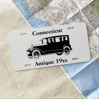 Antique Vintage Classic Car Silhouette Custom Word License Plate