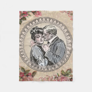 Antique Vintage Couple Roses Girly Fleece Blanket