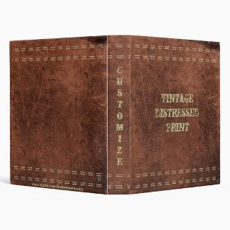Antique Vintage Distressed Leather Print Notebook Vinyl Binders