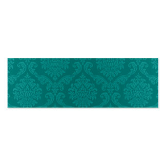 Antique Vintage Elegant Aqua Blue Damask Mini Business Card
