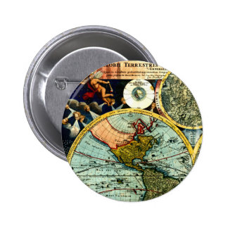 Antique Vintage Map World Globe Historical Art 2 Inch Round Button