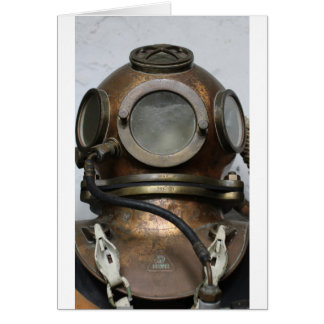 Antique vintage metal underwater diving helmet card