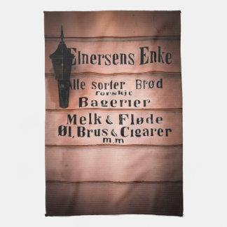 Antique Vintage Norwegian Grocery Shop Sign Kitchen Towel
