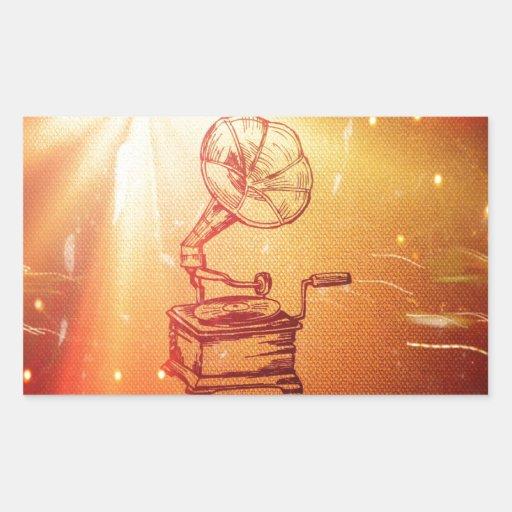 Antique Vintage Phonograph. Retro Old Gramophone Rectangle Sticker