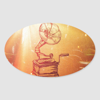 Antique Vintage Phonograph. Retro Old Gramophone Sticker