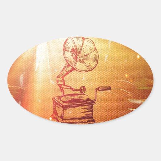 Antique Vintage Phonograph. Retro Old Gramophone Sticker