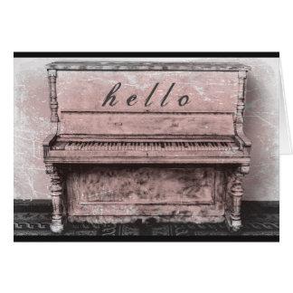 Antique Vintage Piano Pink Hello Notecard