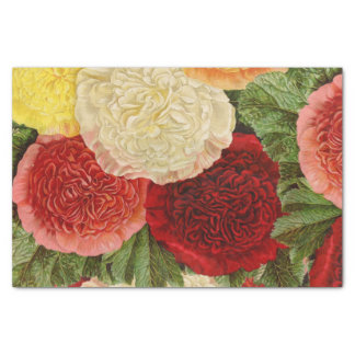 Antique Vintage Red White Pink Yellow Roses Tissue Paper
