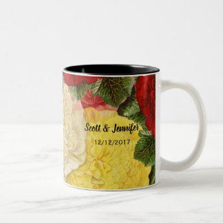 Antique Vintage Red White Pink Yellow Roses Two-Tone Coffee Mug