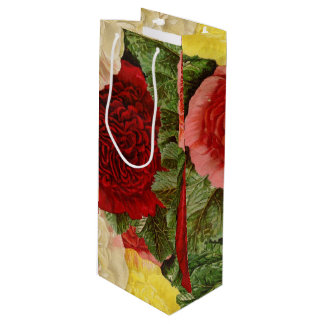 Antique Vintage Red White Pink Yellow Roses Wine Gift Bag