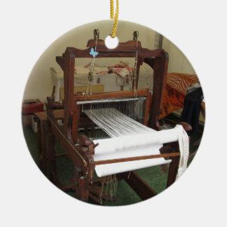 Antique vintage spinner machine working ceramic ornament
