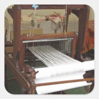 Antique vintage spinner machine working square sticker