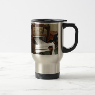 Antique vintage spinner machine working travel mug