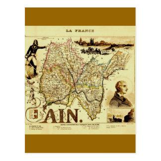 Antique Vuillemin 19th Century Map of France Ain Postcard