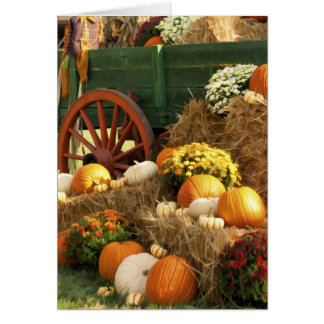 Antique Wagon & Pumpkin Autumn Display Card