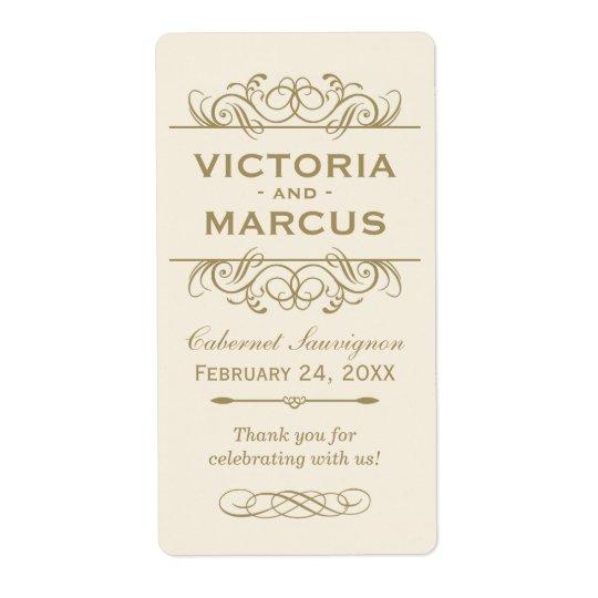 Antique Wedding Wine Bottle Monogram Favour Labels