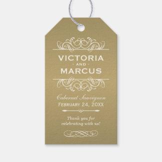 Antique Wedding Wine Bottle Monogram Favour Tags