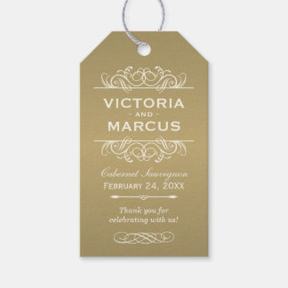 Antique Wedding Wine Bottle Monogram Favour Tags Pack Of Gift Tags