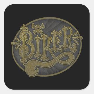 Antique Western Biker Square Sticker