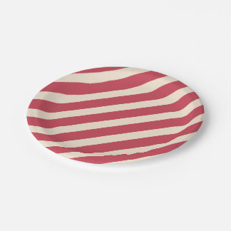 Antique White and Brick Red Diagonal Stripes Paper Plate