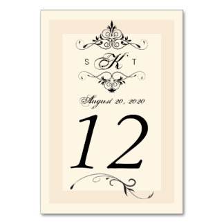 Antique White Black Wedding Table Number Cards