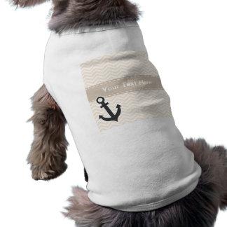 Antique White Chevron; zig zag; Anchor Doggie Tshirt