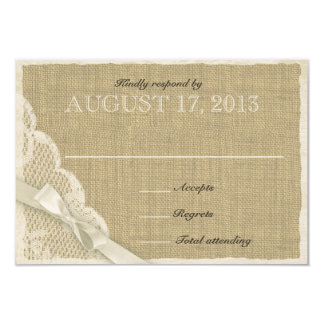 """Antique White Lace Country Response Card 3.5"""" X 5"""" Invitation Card"""