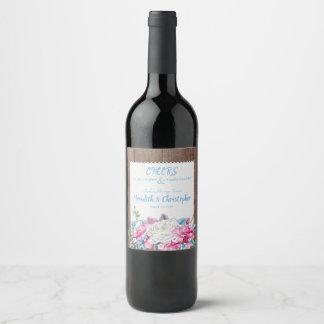Antique White Roses Rustic Wedding Wine Label