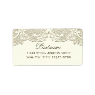 Antique White Vintage Floral Lace Design Label